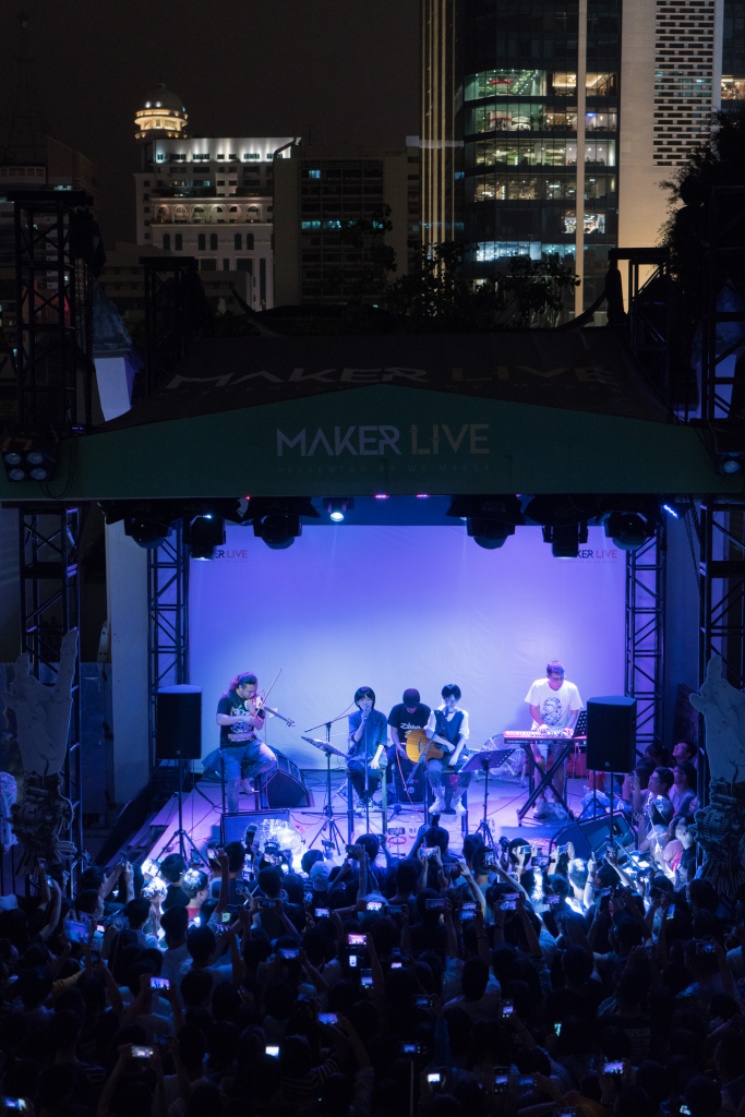 "The band ""The Landlord's Cat"" plays on the outdoor stage at Maker Live on May 21, 2018."